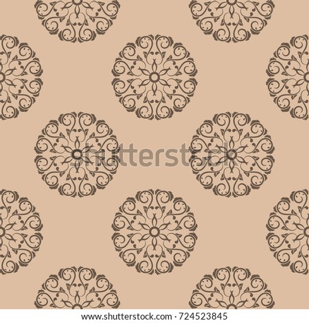 Dark brown floral ornament on beige background. Seamless pattern for textile and wallpapers