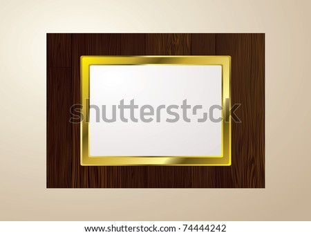 Dark brown wood picture frame with grain and gold edge