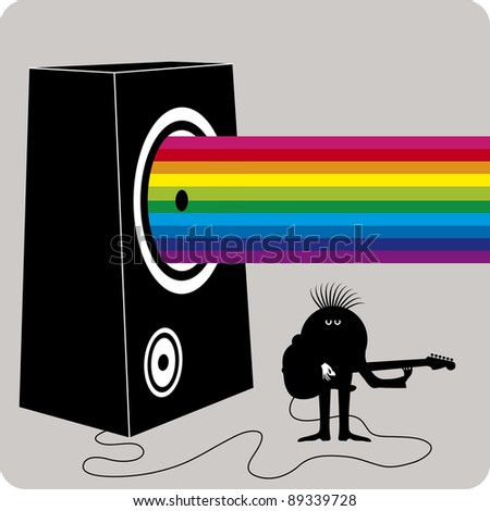 Dark character playing guitar on a big amplifier with a rainbow concept music output - stock vector