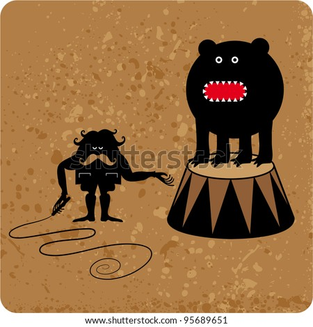 Dark character tame a big beast in performance situation - stock vector