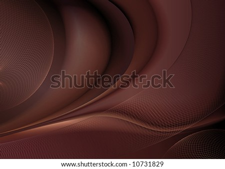 Dark chocolate abstract background with wave and net pattern.
