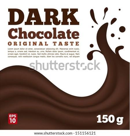 Dark chocolate wave on white background - stock vector