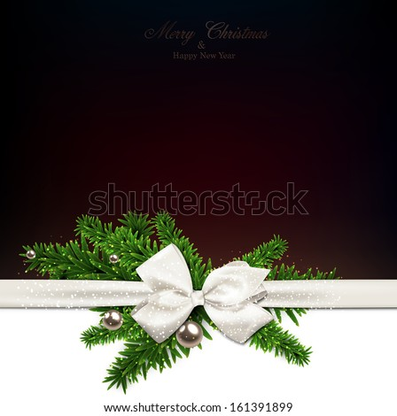 Dark christmas background with fir twigs and gift bow. Vector illustration.  - stock vector