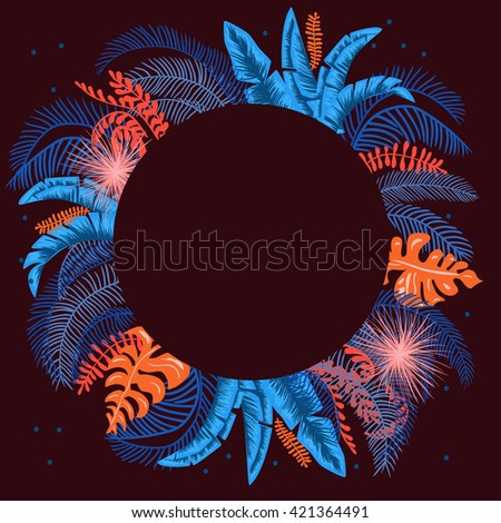 Dark circle jungle frame - stock vector