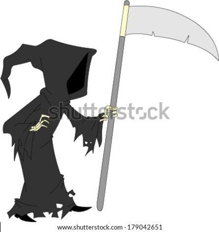 Dark cloaked image of faceless grim reaper holding sickle  - stock vector
