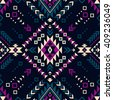 dark color tribal Navajo vector seamless pattern. aztec fancy abstract geometric art print. ethnic hipster backdrop. Wallpaper, cloth design, fabric, paper, cover, textile, weave, wrapping.  - stock photo