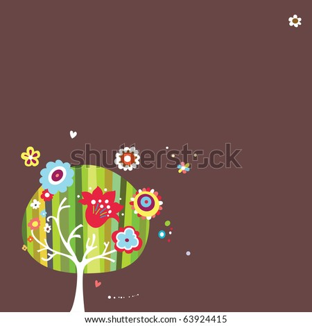 Dark colored background with whimsical tree and floral elements. - stock vector