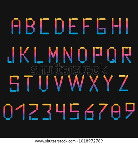 Dark colored neon font with numbers. English, French or Portuguese alphabet.