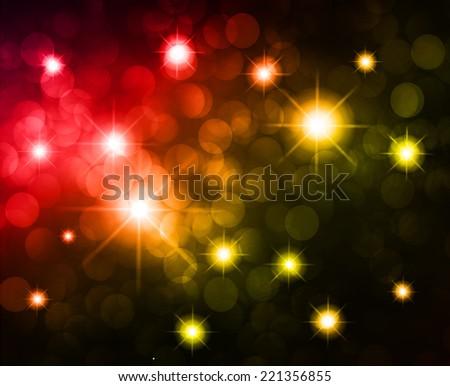 Dark colorful Defocused Light, Flickering Lights, Vector abstract festive background with bokeh defocused lights. Universe, galaxies, stars.  - stock vector