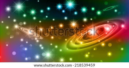 Dark colorful sparkling background with stars in the sky and blurry lights, illustration. Abstract, Universe, Galaxies, ring.  - stock vector