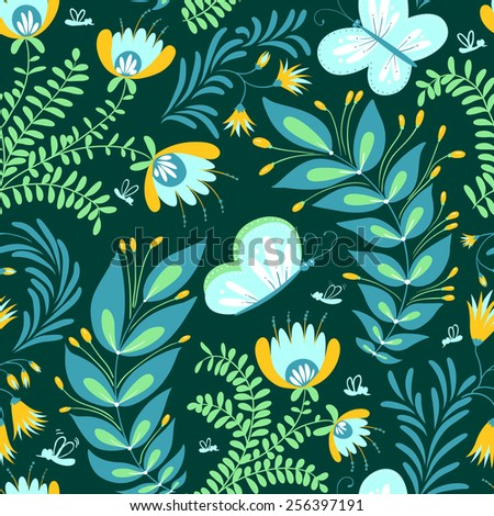 Dark colors floral seamless pattern with butterfly - stock vector