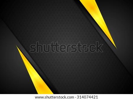 Dark contrast black yellow background. Vector design - stock vector