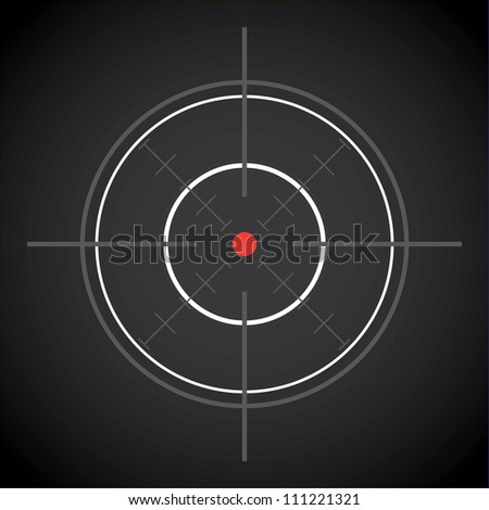 dark crosshair with red dot - illustration - stock vector