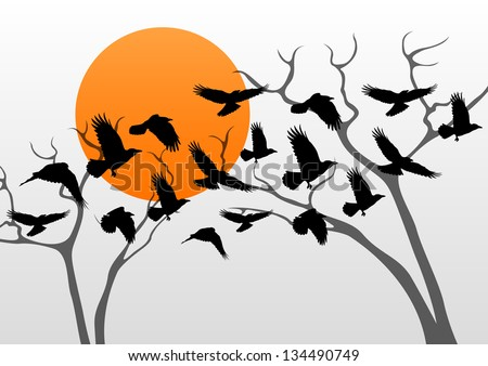 Dark crows pack flying over scary halloween night moon lighted countryside trees landscape illustration background vector - stock vector