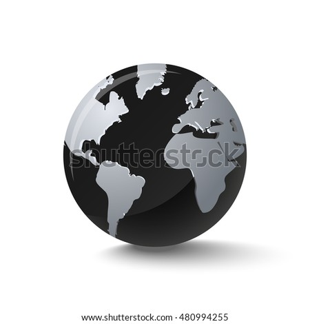 Dark crystal planet Earth sphere with black oceans and shadow.