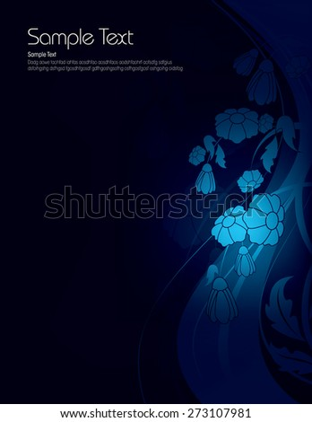 Dark Floral Background with Shiny Blue Flowers. - stock vector