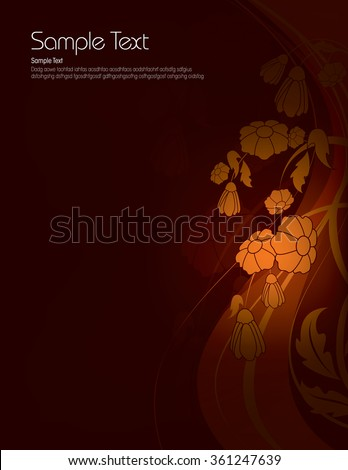 Dark Floral Background with Shiny Orange Flowers. - stock vector