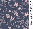 dark floral seamless vector pattern - stock