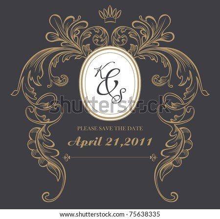 dark formal card design best for wedding, events, christmas - stock vector