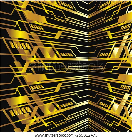 Dark gold Light Abstract Technology background for computer graphic website internet. circuit