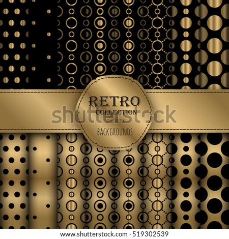 Dark golden collection of jumbo and small polka dots seamless patterns. Vector art image illustration. Perfect for wallpapers, pattern fills, web backgrounds, birthday and wedding cards