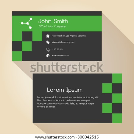 dark gray and green simple business card design eps10 - stock vector