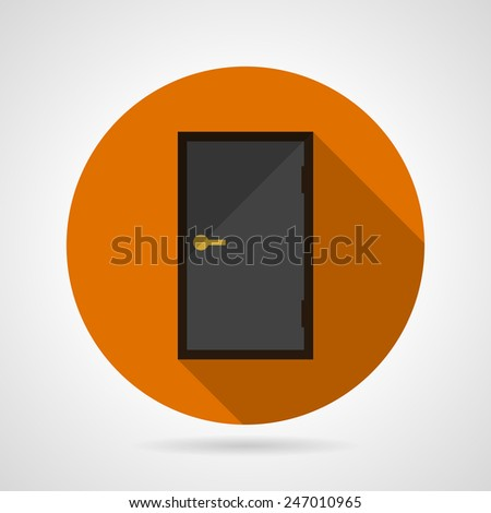 Dark gray door conceptual flat vector icon. Flat round orange vector icon for dark gray opportunity door with yellow knob on gray background. Long shadow design. - stock vector
