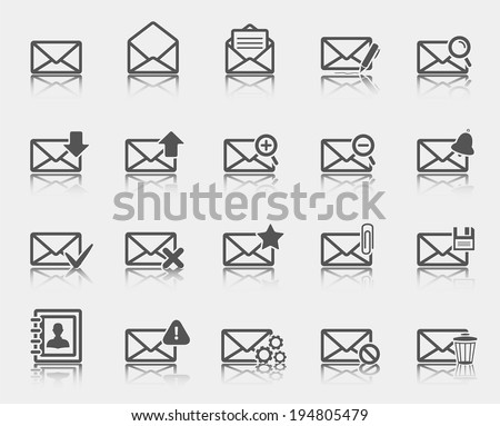Dark gray email icons.Vector illustration. - stock vector