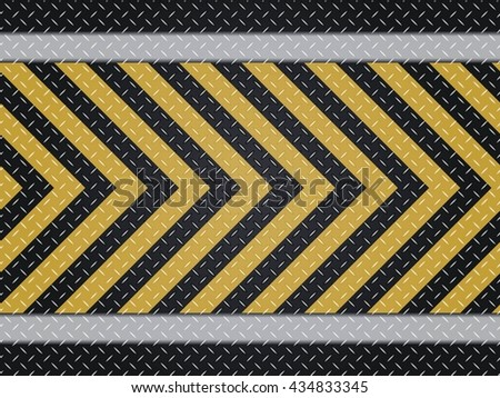 Dark Gray Grunge Steel Floor Plate Yellow Line. Metal seamless background. Vector illustration.