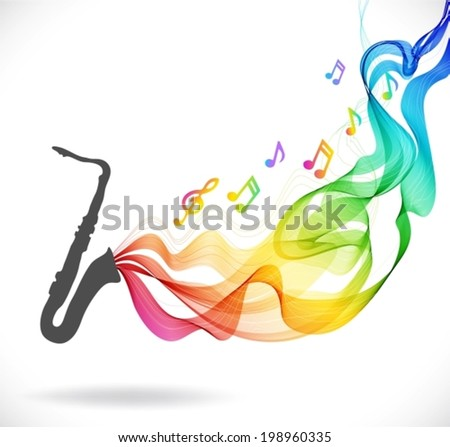 Dark gray saxophone icon with color abstract wave over white, VECTOR - stock vector