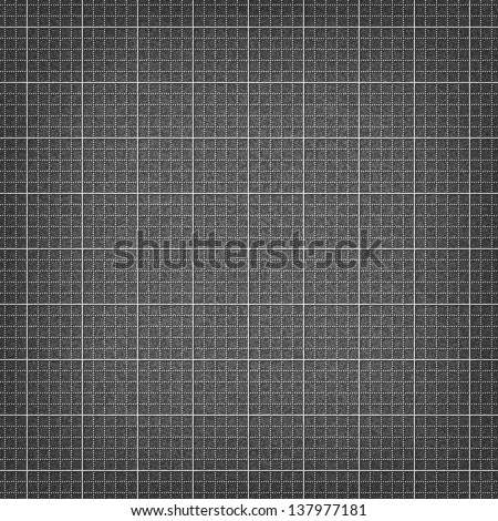 Dark grayscale graph paper seamless texture with light lines grid and grain noise effect. Vector illustration clip-art design element in 10 eps. - stock vector