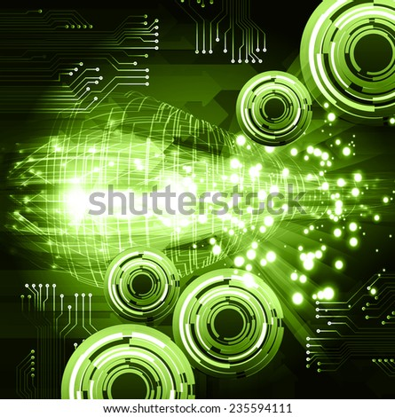 Dark green color Light Abstract Technology background for computer graphic website and internet.