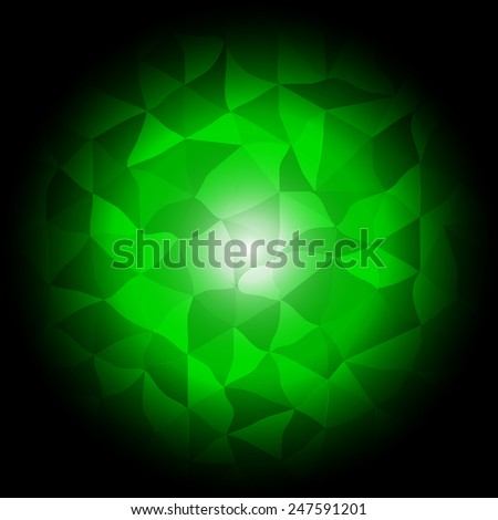 Dark green crystal vector - stock vector