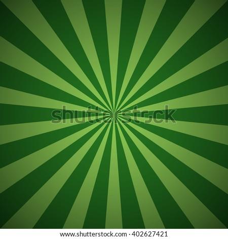 Dark green grunge sunbeam background. Sun rays abstract wallpaper. Vector illustration - stock vector