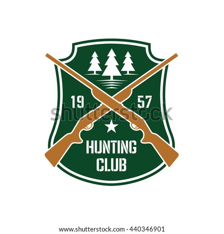 Dark green heraldic shield insignia with crossed hunting rifles and white silhouettes of fir trees, supplemented by foundation date and star. Hunting club or sporting contest design usage - stock vector