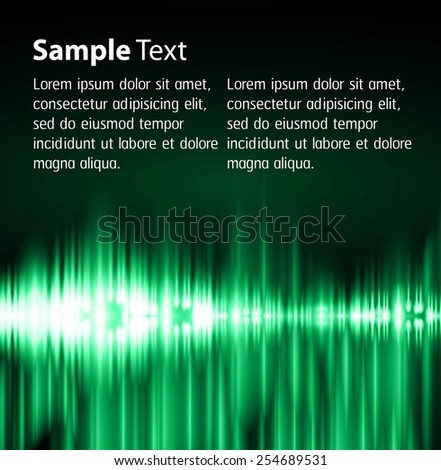 Dark green Light Abstract Technology background for computer graphic website internet. text box. Brochure. Sound waves