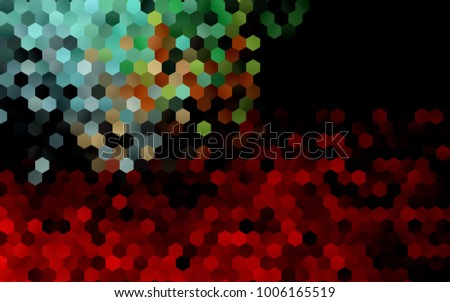 Dark Green, Red vector pattern. Hexagonal template. Geometric sample. Repeating hexagon shapes. Brand-New texture for your design. Pattern can be used for background