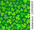 Dark green seamless clover pattern, vector background for St. Patrick's Day - stock photo