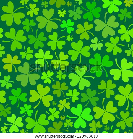 Dark green seamless clover pattern, vector background for St. Patrick's Day - stock vector
