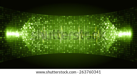 Dark green Sound wave background suitable as a backdrop for music, technology and sound projects. Heart pulse monitor with signal. Heart beat. - stock vector