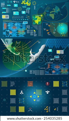 Dark green, white and yellow modern warfare holographic gui illustration - stock vector
