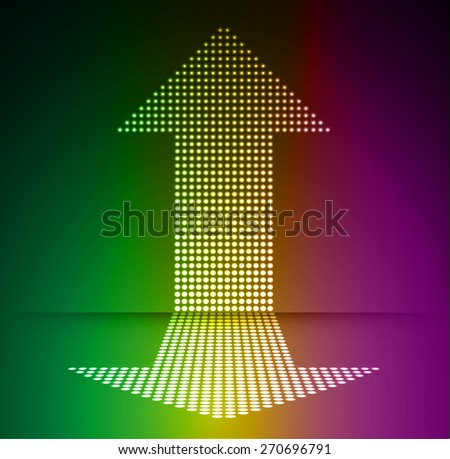 Dark green yellow purple arrow Abstract light lamps background for Technology computer graphic website internet and business.. Screen on stage. Vector illustration. Spot Effect. neon. point. dot - stock vector