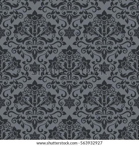 Dark Grey And Black Damask Vintage Wallpaper Pattern Vector Illustration