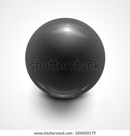 Dark grey sphere isolated on white. Vector illustration for your design. - stock vector