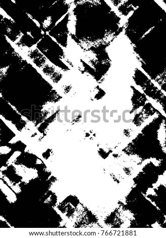 Dark Grunge Chaotic Seamless Pattern. Vertical Abstract Texture Made Of Ink  Paint. Monochrome Worn