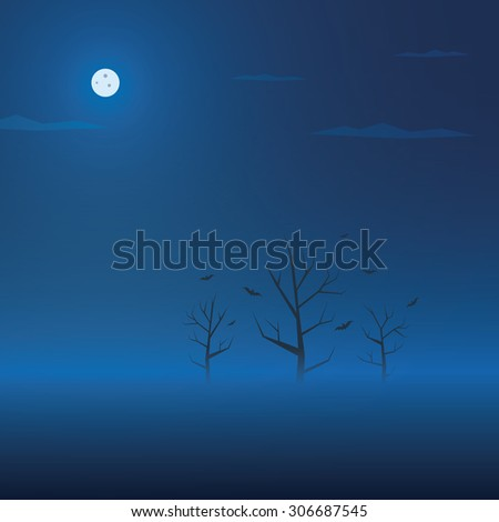 Dark halloween background. Creepy trees in fog with bats. Spooky holiday banner. Eps10 vector illustration. - stock vector