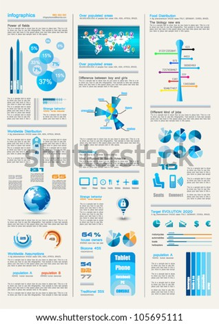 Dark Infographics page with a lot of design elements like chart, globe, icons, graphics, maps, cakes, human shapes and so on. Ideal for business analisys rapresentation. - stock vector