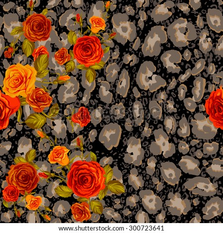 Dark leopard skin and orange roses seamless pattern. Animal and floral background. - stock vector