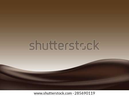 Dark liquid chocolate wave on brown background