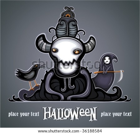 Dark Lord and his gloomy, faithful followers: Raven and Little Death. To see similar, please VISIT MY PORTFOLIO   - stock vector
